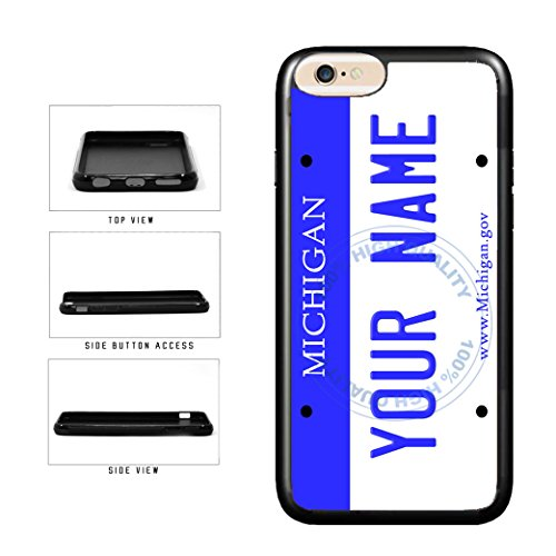 BleuReign(TM) Personalized Custom Name Michigan State License Plate TPU Rubber Silicone Phone Case Back Cover for Apple iPhone 8 Plus and iPhone 7 Plus