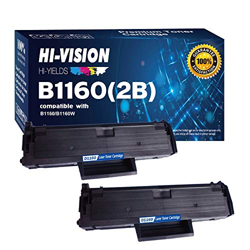 HI-VISION HI-YIELDS Compatible B1160 1160 331-7335 (YK1PM, HF442) 2 Pack Black Toner Cartridge Replacement for Dell B1160, B1160W, B1163W, B1165nfw