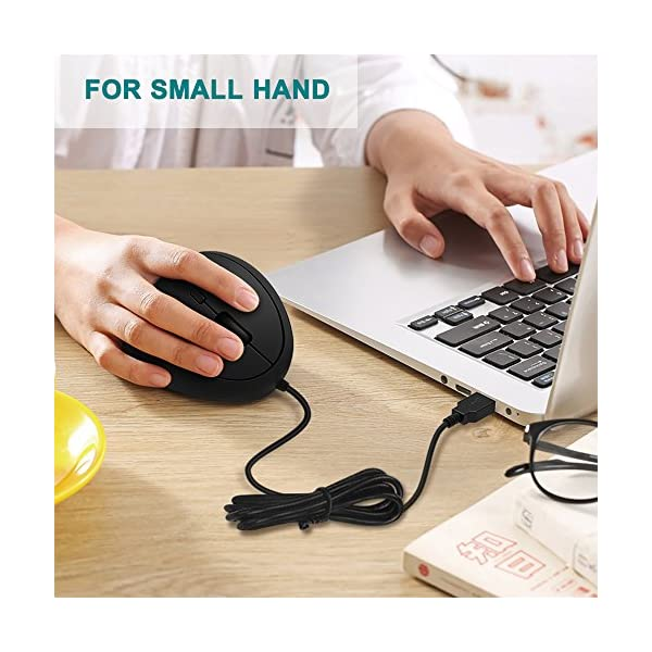 Wired Vertical Mouse, Jelly Comb Small Ergonomic Mouse High Precision Optical Mice with Adjustable Sensitivity 800/1200…