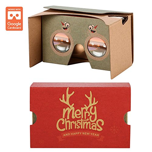 AUPALLA Google Cardboard v2 Christmas Version 3D Virtual Reality Glasses Best Christmas Gift Support Pokémon GO in Future