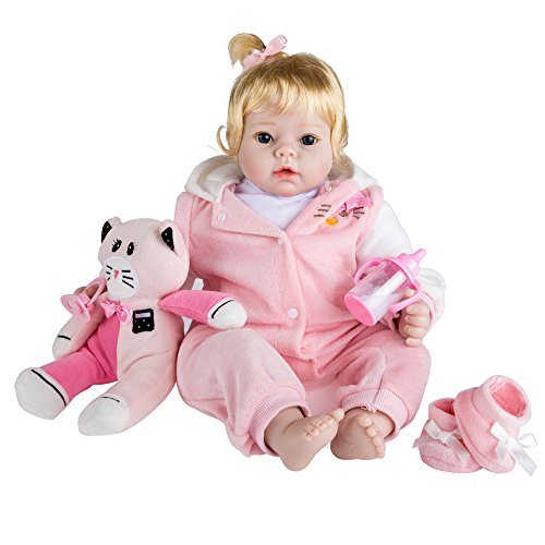 Real Life Like Baby Doll - rolimate Lifelike Realistic Baby Doll, Tall Dreams Gift Set Ensemble, 22-inch / 55cm Weighted Baby with Clothes and Accessories , Best Birthday Gift for Girls Ages 3+ (Jessica)