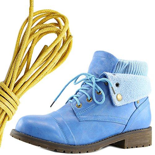 Dailyshoes Womens Boot Style Lace Up Maglione Stivaletto Alla Caviglia Con Taschino Per Porta Carte Di Credito Tasca Porta Soldi, Giallo Blu Pu