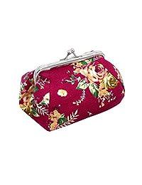 Sannysis Women Lady Retro Vintage Flower Canvas Small Wallet Purse Clutch Bag