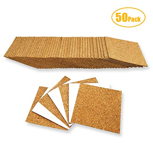 50 Pack Self Adhesive Cork Coasters Squares for Crafts, 4x4 Inch Mini Wall Cork Backing Tile Sheets