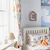 Riva Paoletti Kids Woodland Pencil Pleat Curtains (Pair) - Green and Cream - Matching Tiebacks - Machine Washable - 168cm width x 183cm drop (66' x 72' inches) - Designed in the UK