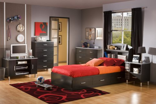 South Shore Cosmos Mates Bed with 3 Drawers, Twin 39-inch, Black Onyx - bedroomdesign.us