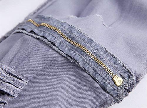 Casual Da Grau Il Denim Pants Jeans Knee Vintage Alla Moda Hat Strappati Uomo Skinny Ragazzo Per Closure aOIf65q