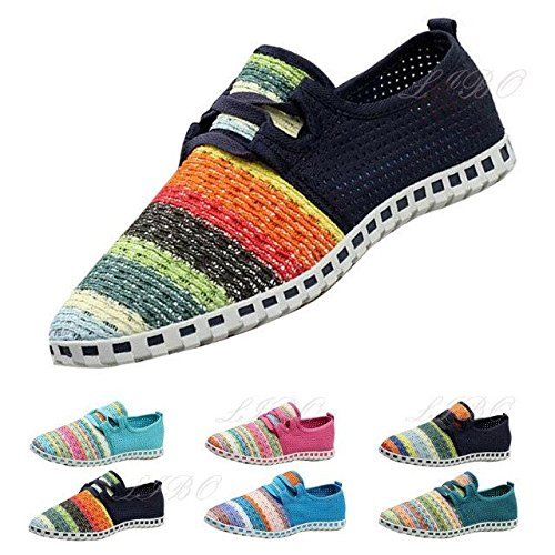 Gaorui Men Casual Canvas Plimsolls Shoes Loafer Knitted Comfy Flat Espadrilles Trainers Green ZeP20