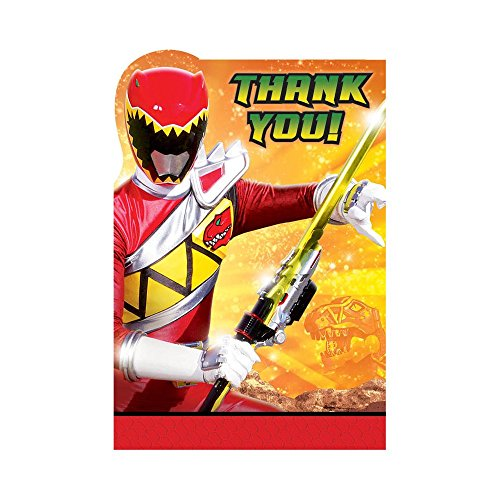 Amscan Power Rangers Dino Charge Birthday Party Postcard Thank You Cards (8 Piece), Multi