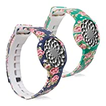 kwmobile 2in1 set: 2x Sport spare bracelet for Jawbone UP Move in light pink dark blue, light pink green, Inner dimensions: approx. 15,5 - 23 cm
