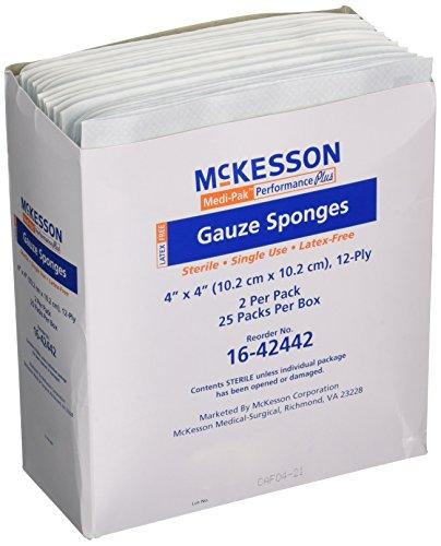 Mckesson Performance plus Gauze Sponge Cover Dressing Sterile, 4 X 4 Inches, 25 packs of 2