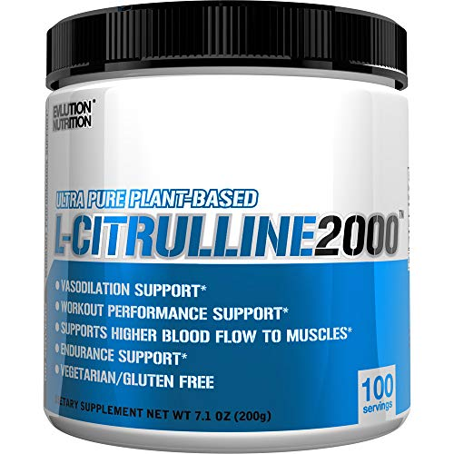 Evlution Nutrition L-Citrulline2000, Ultra-Pure Plant-Based Citrulline Powder Supplement, Enhance Muscle Strength and Vascularity, Powerful NO Booster (100 Servings)