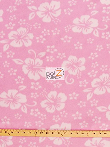 - BABY PINK HAWAIIAN FLOWER PRINT POLAR FLEECE FABRIC 60