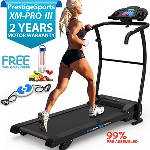 XM-PROIII TREADMILL - NEW 2018 Model Motorised Running Machine, Lightweight Folding, Powerful Motor 1100W, 12KPH Speed, 3 Level Manual Incline, Auto Lube, 12 Auto + 1 Manual Program, Speakers, Pulse