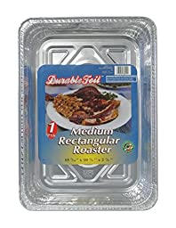 Durable Foil Medium Rectangular Aluminum Roasting Pan, 10-3/4\