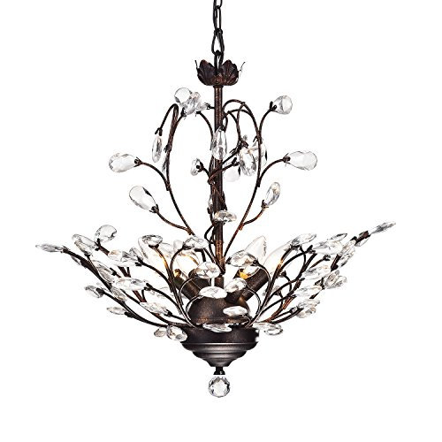 Edvivi 4-Light Antique Copper Crystal Chandelier with Crystal Leaves | Glam Lighting