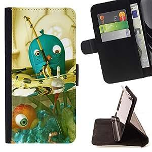For Sony Xperia Z5 Compact Z5 Mini (Not for Normal Z5),S-type Blue Fish Bowl - Dibujo PU billetera de cuero Funda Case Caso de la piel de la bolsa protectora
