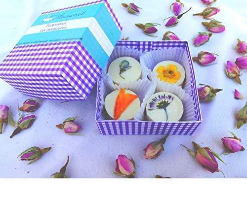 Badepralinen Vier Jahreszeiten in der Geschenkbox, mit selbst gepressten Blü ten, ohne Palmö l, Badebomben von kleine Auszeit Manufaktur