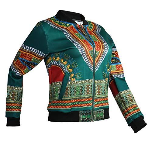 Zip Coat Africano Verde Stampa Bomber Moda Tops Giacca E Lunga Cime Outerwear Giacche Manica Arancio Casual Con Trenchcoat Donna Jacket Vintage Autunno Primavera Cappotti qZOgxwvaC