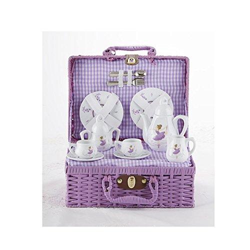 Delton Porcelain Tea Set in Basket, Purple Dancer