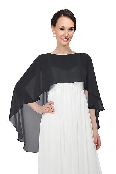 436c71eecfde Shawls and Wraps for Evening Dresses Chiffon Wedding Capes Soft Shrugs Black