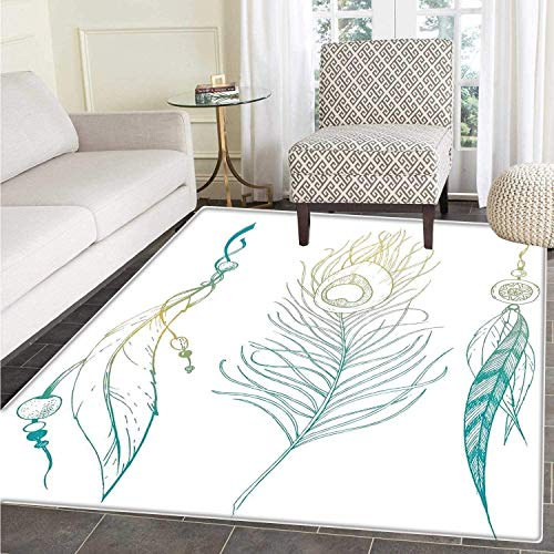 - Peacock Floor Mat Pattern Aesthetic First Nations Feather and Peacock Tail Traditional Design Print Living Dinning Room & Bedroom Rugs Mint Green Yellow