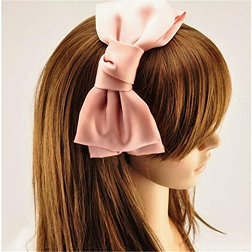 Fashion Sweet Korean Style Big Bowknot Hair Band Bow Headband Hair Accessory Pink