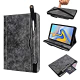 """Case Compatible iPad Air 3 10.5"""" 2019,Trifold Stand Pu Leather Cover with Pen Holder/Card Holder Typing Viewing Folio Flip iPad Air 3 Screen Protector for Men/Women(without Pen Slot Charging)-Gray"""