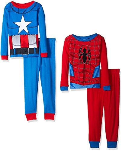 Marvel Boys' Avengers 4-Piece Pajama Set, Red/Blue,6