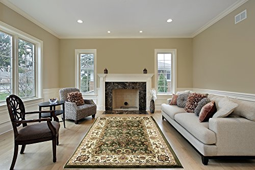 Jersey Collection JC1625 GRN-CRM 5 feet by 7 feet Decorative Area Rug Designer's choice Extremely Durable Stain Resistant Smooty Cozy Pet Friendly, Impressed Rich Color by Homedora