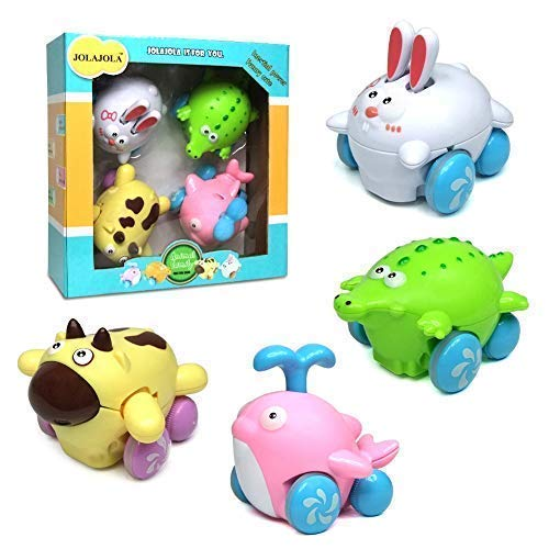 Toddler Toy Cars for Girls Boys - Push and Go Friction Powered Kids Animal Cars Toy, Best Gift for Boys Girls -Set of 4 Cute Cartoon Animal Toy Cars