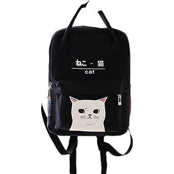 Women Girls Japanese And Korean Style Bags Kawaii Cat Canvas School Backpack  (Black) 3a065781fa