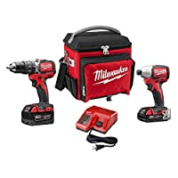 HomeDepot.com deals on Milwaukee M18 18V Cordless Compact Hammer Drill/Impact Combo w/Jobsite Cooler