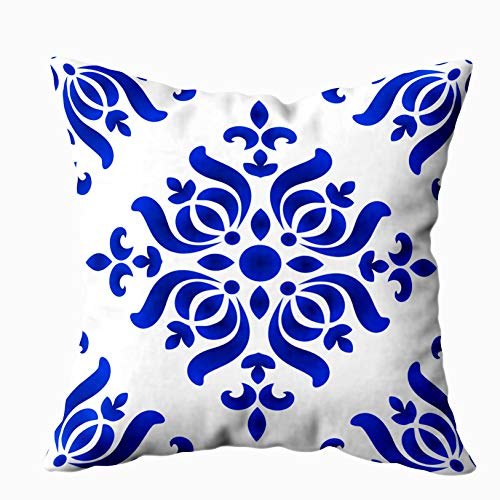 Shorping Body Pillow Case with Zipper, Zippered Pillowcases 20X20Inch Throw Pillow Covers Porcelain Pattern Abstract Floral Decor and Damask Style Blue White Ceramic Royal for Home Sofa Bedding