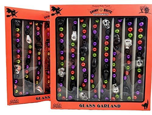 Shiny Brite 2 Pack Radko Halloween Skull Glass Garland 7 Feet Each New Gothic]()
