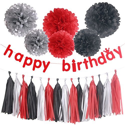 Simla Decor Red Thick Felt Cloth Happy Birthday Decoration Banner With 6pcs Colorful Tissue Pom Pom Ball And 15pcs Tissue Paper Tassels