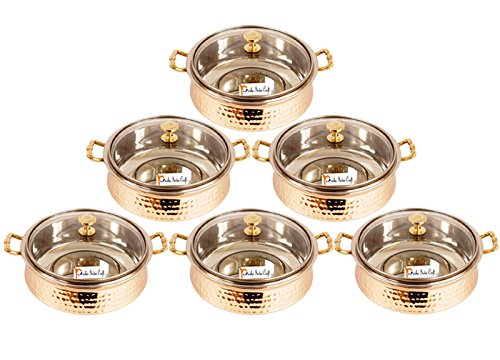 Set of 6 Prisha India Craft Handmade Steel Copper Casserole with Lid and Serving Spoon - Set of Copper Handi and Serving Spoon - Bowl Dia - 5.00'' X Height - 2.25'' - Christmas Gift