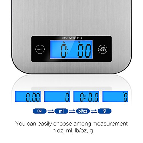 Digital Kitchen Scale Food Scales, TOBOX Postage Scale Multifunction Stainless Steel Accuracy with LCD Display and Tare Function for Baking and Cooking (Sliver) by TOBOX (Image #1)