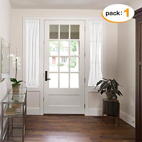Solid Front Door (H.Versailtex Elegant Home Decorative Solid Linen Sheer Curtains for French Door, Rod Pocket Top Door Panel, 1 Piece W25 x L72-Inch - White)