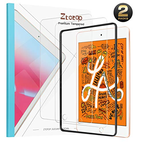 [2 Pack]Ztotop Screen Protector for iPad Mini 5 (2019) / iPad Mini 4, Free Applicator Frame/Anti-Scratch and iPad Pencil Compatible 9H Tempered Glass Screen Protector for iPad Mini 5th & 4th Gen