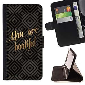 BullDog Case - FOR/Sony Xperia Z1 L39 / - / Funny You Are Beautiful /- Monedero de cuero de la PU Llevar cubierta de la caja con el ID Credit Card Slots Flip funda de cuer