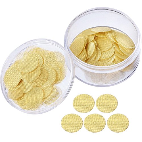 Mudder 150 Pieces Pipe Screen Filters Brass Pipe Screens Pipe Bowl Screens with Storage Box (3/4 Inch)