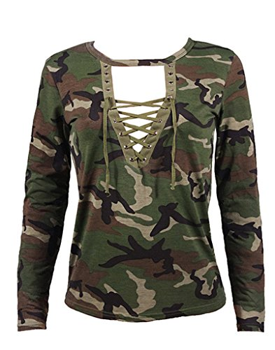 abd womens v neck long sleeve camouflage print bandage loose blouse t shirt top small green. Black Bedroom Furniture Sets. Home Design Ideas
