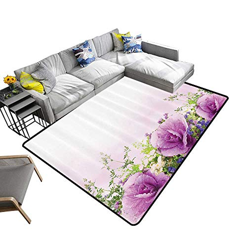 Flower House Decor Dining Room Home Bedroom Carpet Spring Cabbage Flowers in Fragrant Bouquet with Partially Shaded Color Romance Artwork Home Decor Area Rug 6'6
