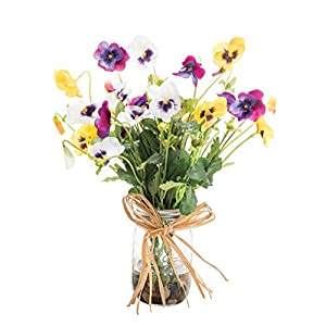 Pansy Pastime Silk Flower Arrangement 7