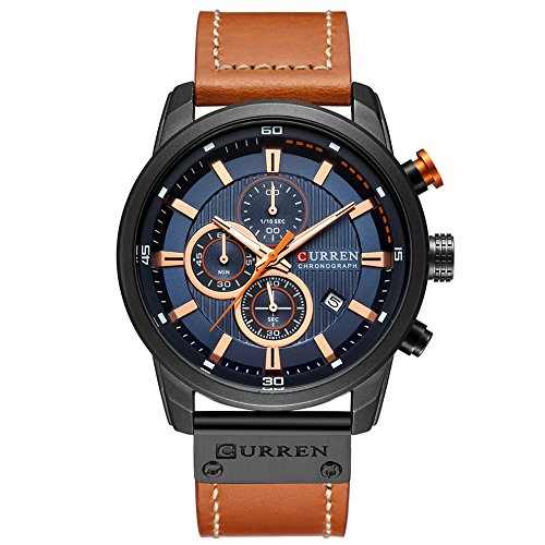 Mens Water Resistant Sport Chronograph Watches Military Multifunction Leather Quartz Wrist Watches