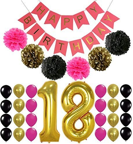 18th BIRTHDAY BANNER POMPOM DECORATIONS - Hot Pink Happy Birthday Banner Sign, Number 18 Mylar Balloon,Hot Pink Gold Black Latex Ballon,Perfect 18 Year Old Party Supplies Free Printable Bday Checklist