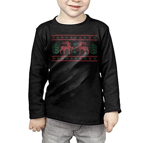 ZheuO Boys & Girls Infant Ugly Christmas Cozy 100% Cotton T-Shirts Unisex Black 4 Toddler