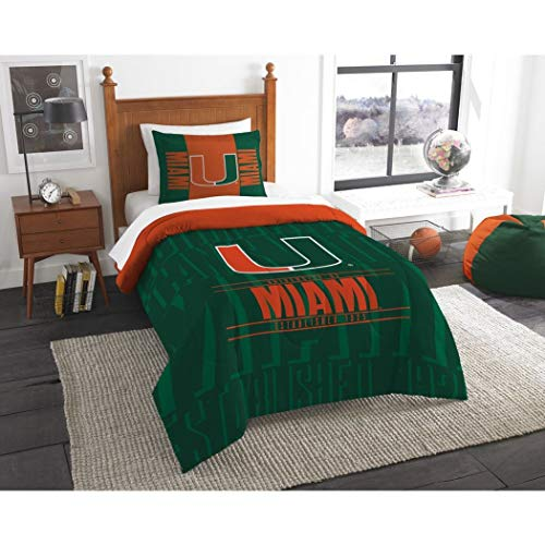 2 Piece NCAA University of Miami Hurricanes Comforter Twin Set, Sports Patterned Bedding, Featuring Team Logo, Fan Merchandise, Team Spirit, College Football Themed, Green Orange