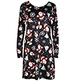Oucan Women's Christmas Printed Slim Fit Pullover Long Sleeve Flared A Line Party Dress Swing Dress